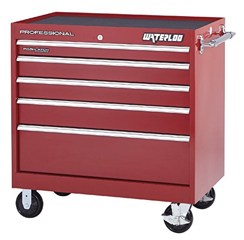 Tool Storage Series Chest Professional (Waterloo Professional HD Series 5-Drawer Workstation, Red Finish, 40