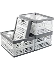 Ponpong 16 Litre Plastic Storage Crate, Grey and White, 4 Packs
