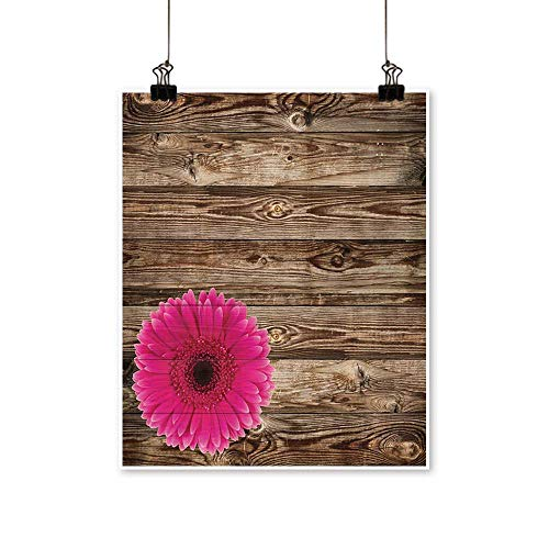 "Art Picture Colorful Canvas Print Pink Daisy Blossom Vintage Wood Wall Gerra Flower Country Style Paintings for Living Room,24"" W x 40"" L/1pc(Frameless)"