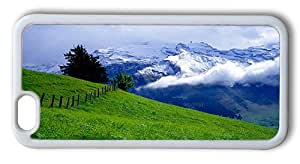 Durable iPhone 6 Case Cover, Green Grass Mountain Landscape TPU Silicone Rubber Case for iPhone 6 4.7inch White