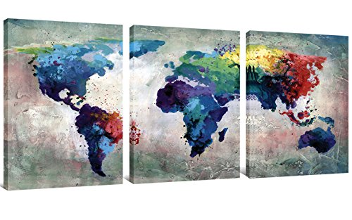 3 Panels Canvas Painting Abstract World Map Picture Printed on Canvas Giclee Artwork Stretched and Framed Wall Art For Home Decor (3 Panel Canvas)