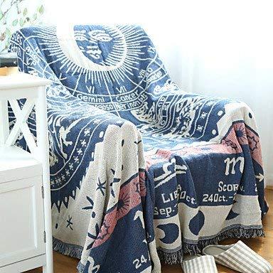 Lingyuan 綿肥厚ライン装飾カーペットソファタオル毛布 (サイズ : W70