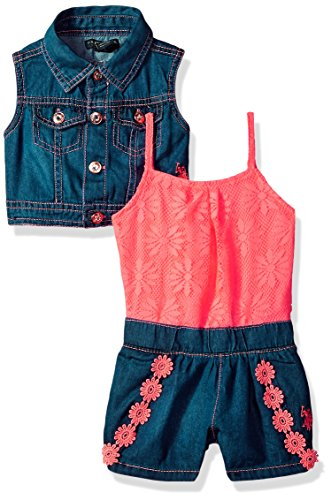 U.S. Polo Assn. Baby Girls, Denim Vest Daisy lace Romper neon Coral, -