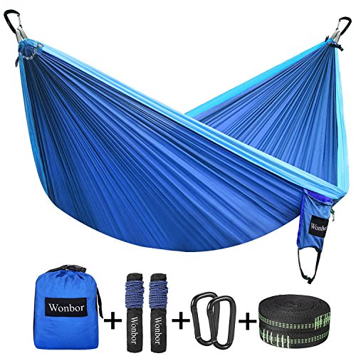 Hammock, Wonbor Camping Double Hammock Lightweight Portable Parachute Nylon Hammock With Tree Straps Ropes for Outdoor Backpack Travel Beach Yard Hanging Bed Sleeping Swing - Blue