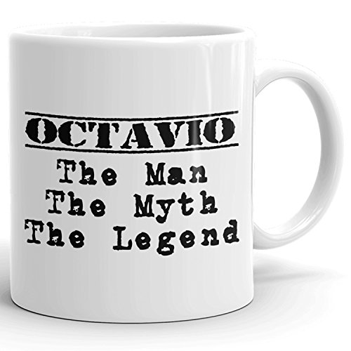 Best Personalized Mens Gift! The Man the Myth the Legend - Coffee Mug Cup for Dad Boyfriend Husband Grandpa Brother in the Morning or the Office - O Set 1