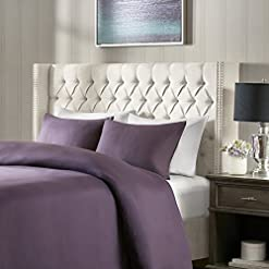 Bedroom Madison Park Amelia Upholstered Headboard | Nail Head Trim Wingback Button Tufted | King, Cream modern headboards