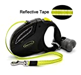 Living Express Retractable Dog Leash,Waste Dispenser and Bags Included,16ft Long Tape Tangle,110lbs