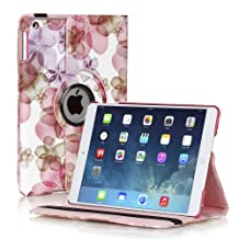 TNP Apple iPad 2/3/4 Case (Flower Pink) - 360 Degree Rotating Stand Smart Protective Cover For iPad 4th Generation with Retina Display, the New iPad 3 & iPad 2 with Auto Sleep Wake & Stylus Holder
