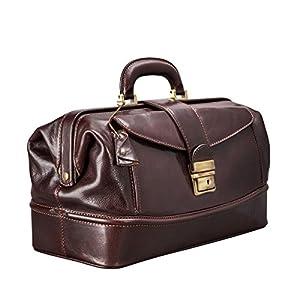 Maxwell Scott Personalised Full Grain Italian Leather Doctor Bag – DonniniS Brown