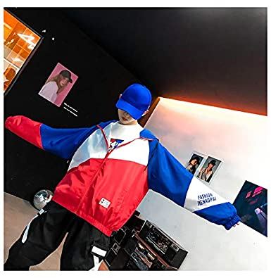 Retro Colorblocked Track Jacket Windbreaker Jacket Athletic Hip Hop Outdoor Windproof Coat