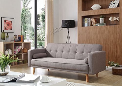 WestWood Fabric Sofa Bed Recliner Couch 3 Seater With 2 Modern Cushions...