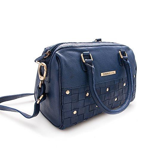 Zerimar. Bolso para mujer de piel suave, amplio y con múltiples bolsillos. Color azul. Medidas: 25x30x11 cms