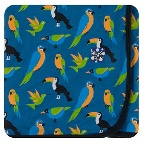 Kickee Pants Little Boys Print Swaddling Blanket - Twilight Tropical Birds, One Size