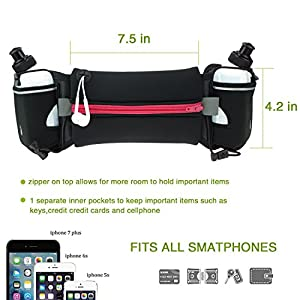 Running Hydration Belt with Water Bottles (2X BPA Free 10oz), Fuel Belt Fits iPhone 6s Plus for Running, Race, Marathon, Hiking, Adjustable Running Waist Packs, Men & Women Runners Belt (red)