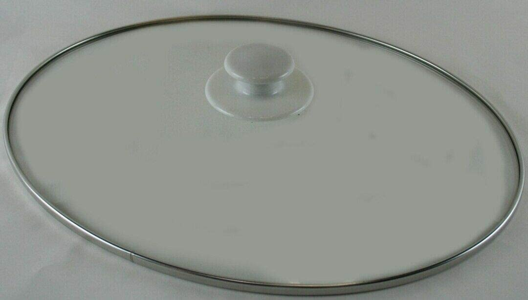 shop168 Replacement Glass Crock Pot Lid For Rival 5.5 to 6 Quart Crock Pots And Slow Cookers Glass Lid With White Plastic Knob Measures Approx 12 x 9.5 Inch US
