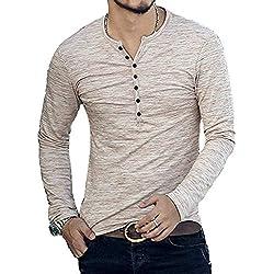 KUYIGO Mens Casual Slim Fit Basic Henley Long Sleeve T-Shirt (Large, Khaki)