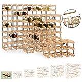 Weinregal / Flaschenregal System TREND, für 90 Fl., Holz Kiefer hellbraun gebeizt, komplett montiert, stapelbar / erweiterbar - H 82,5 x B 100,5 x T 22,8 cm