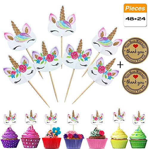 48-Pack Rainbow Unicorn Cupcake Toppers,24 Pcs Thank You Sealing Stickers Craft Paper Label - Double Sided Unicorn Cake Toppers for Birthday Party Supplies, Baby Shower Party Decorations Supplies