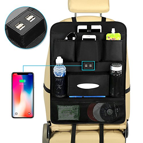 JIAKANUO Auto Car Seat Back Pocket Organiser,Car Pocket Organizer with Tablet Ipad Holder 4 USB Ports for Cellphones, Books,Wallet,Cup,Glasses,Food,CDs Oxford Fabric - Book Organizer Cd