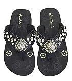 Montana West Women Flip Flops Shiny Bling Sandals Crystals Floral Concho Black