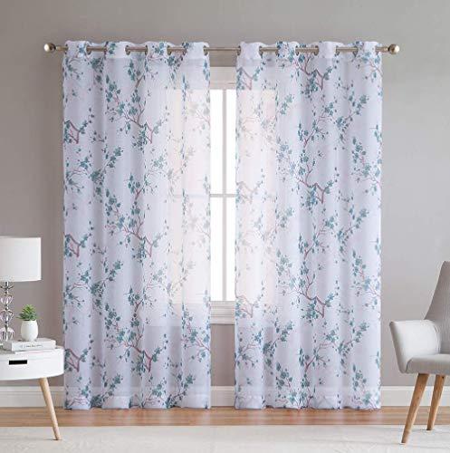 HLC.ME Jasmine Floral Sheer Voile Grommet Window Curtain Panels for Bedroom, Living Room & Nursery Room - 63