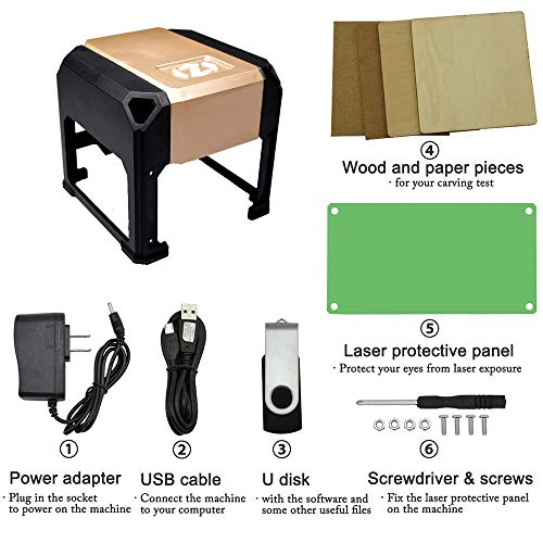laser engraving machine Laser Engraver Printer 3000mW Mini desktop laser engraver machine DIY Logo laser engraver (3000mW) by NiocTech (Image #4)