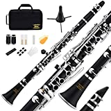 Eastar B Flat Clarinet Black Ebonite Clarinet With Mouthpiece,Case,2 Connector,8 Occlusion Rim,Clarinet Stand,3 Reeds and More Keys