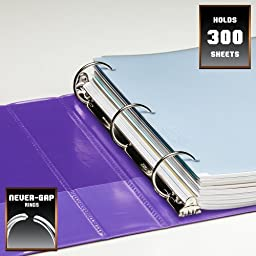 Wilson Jones Heavy Duty Round Ring View Binder with Extra Durable Hinge, 1.5 Inch, Customizable, Purple (W363-34-267)