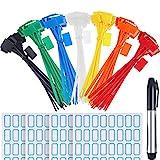 Zhanmai 140 Pieces Zip Ties Nylon Cable Ties Marker