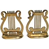 Solid Brass Music Bookend Pair - Nautical Decor