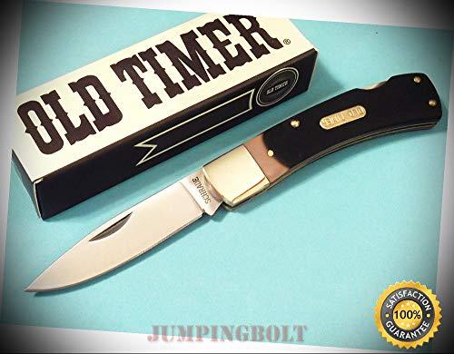 - 5OT OLD TIMER Bruin Lockback Sawcut Delrin knife 3 3/4'' closed - Knife for Bushcraft EMT EDC Camping Hunting
