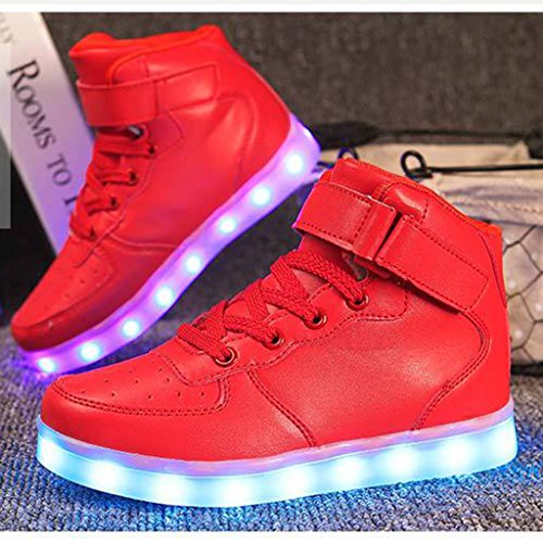 DoGeek LED Chaussures Lumineuse Lumière Basket LED- Homme Femme LED Basket Mode- 7 Couleur Lumière Chaussures-USB Charger Rouge 7jSk8t