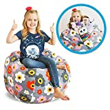 """Product review for Stuffed Animal Kid Bean Bag Chair - Storage for your Child's Stuffed Animals and Blankets (38"""", Grey Flowers)"""