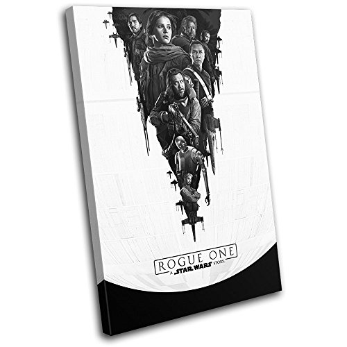 Bold Bloc Design - Star Wars Rogue One Poster Gaming 90x60cm SINGLE Canvas Art Print Box Framed Picture Wall Hanging - Hand Made In The UK - Framed And Ready To Hang 13-2457(00B)-SG32-PO-D