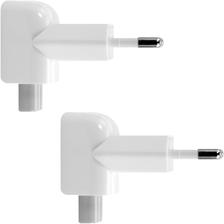 kwmobile 2X Adaptadores duckhead para Fuentes de alimentación Apple - Enchufe de Dos Clavijas para Cargador de Macbook iPad - Adaptadores Blancos