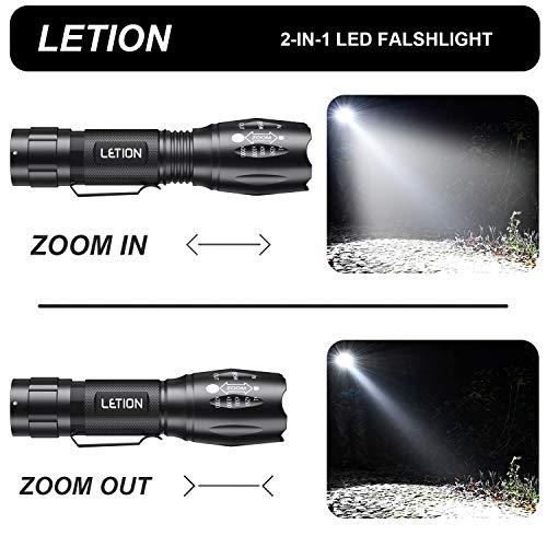 LETION Lampe UV ,2 en 1 Lampe Torche Lampe de Torche led 500 Lumens,4 Modes Intensité Ajustable Zoomable avec 395nm Lumière Ultraviolet pour Le Ménage, La Randonnée(3*AAA Pile incluse)
