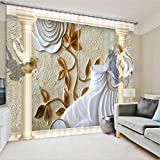 LB Room Darkening Thermal Insulated Blackout Curtains for Bedroom Living Room,Angel Flying 2 Panels Noise Reducing Window Treatment 3D Window Drapes for Kids'Room,104 Inch Width by 84 Inch Length