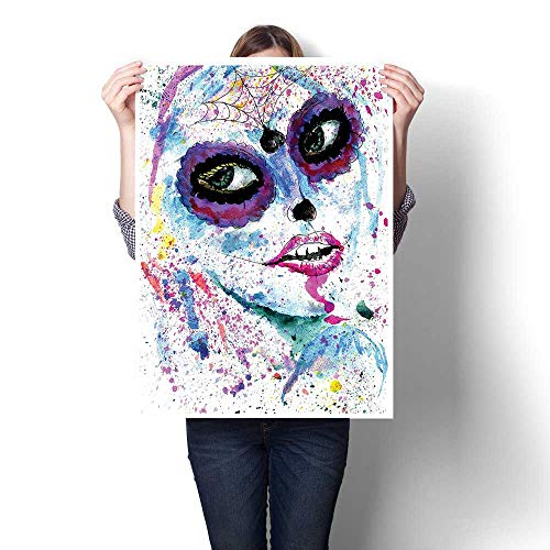 1-Piece 100% Paintings,Grunge Halloween Lady with Sugar Skull Make Up Creepy Dead Face Gothic Woman Painting,Modern Abstract Painting Canvas Living Room,32