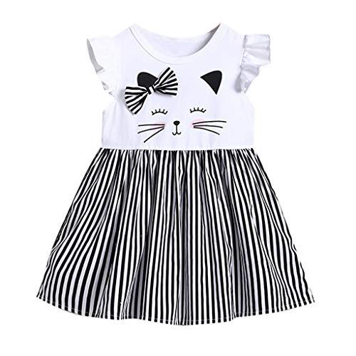 Foe Wii - Huarll Baby Girl Ruffle Sleeve Summer Dresses Foe Toddler Cute Cartoon Cat Printed Shirts Fashion Striped A Line Dress (White,18-24 M)