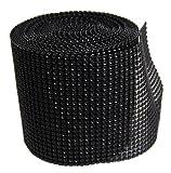 Diamond Mesh Wrap Roll Rhinestone Crystal Ribbon 4.5'' x 10 yards (Black)