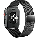 For Apple Watch Band 42mm Fully Magnetic Closure Clasp Mesh Loop Milanese Stainless Steel iWatch Band for Apple Watch Series 3 Series 2 Series 1 Sport and Edition - Black