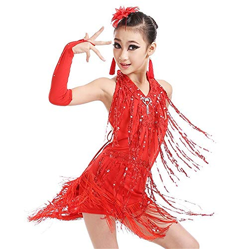 Girls Ballet Dress Girls Latin Dance Dress Kids Sleeveless Halter Sequin Tassels Ballroom Salsa Samba Rumba Tango Rhythm Dancewear Performance Competition Dance Costume Gymnastic Dance Leotard ()