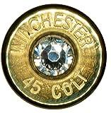 .45 Colt Brass Tie Tack w/ Swarovski Crystal- Clear (Winchester)