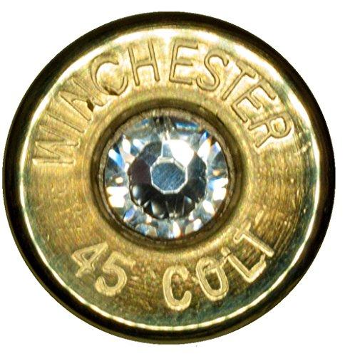 .45 Colt Brass Tie Tack w/ Swarovski Crystal- Clear (Winchester) by Dobez DesignZ