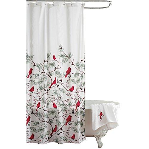 Collections Etc Cardinal Holiday Shower Curtain (Bird Decor Holiday)