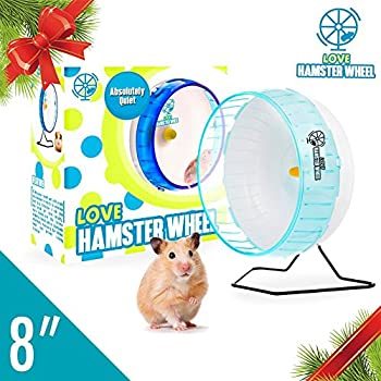 "Hamster Wheel 8"" Pet Comfort Exercise Wheel Large and Easy Attach to Wire Cage for Hamsters Gerbils Chinchillas Hedgehogs Mice and Other Small Animals - Premium PP Material Blue"