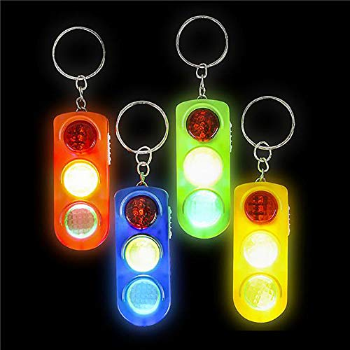 (Kicko 2 Inch Light-up Traffic Light Keychain - 36-Pack Mini Backpack Hook - Keyring for Bag and Belt Loop Accessory, Back to School Item, Arts and Crafts, Educational Tool, Party Favors)