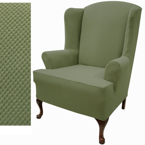 Stretch Pique Balsam Green Wing Chair Cover 708