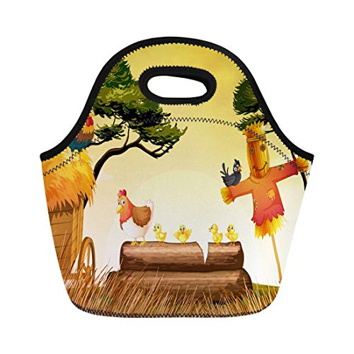 Semtomn Lunch Tote Bag Agriculture Chickens and Scarecrow in the Field Animal Chicks Reusable Neoprene Insulated Thermal Outdoor Picnic Lunchbox for Men Women