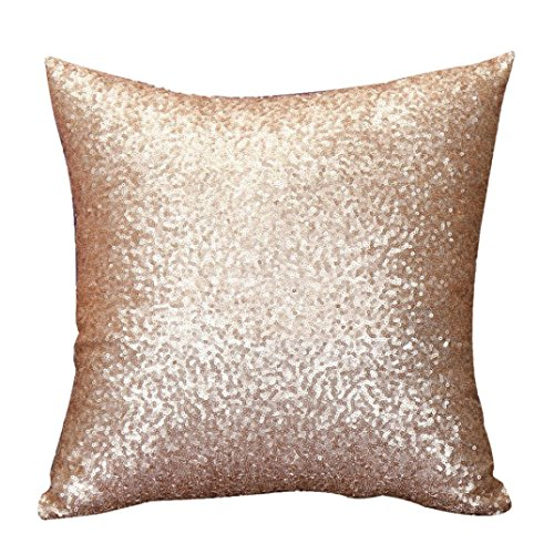 Welcomeuni Solid Color Glitter Sequins Throw Pillow Case Caf